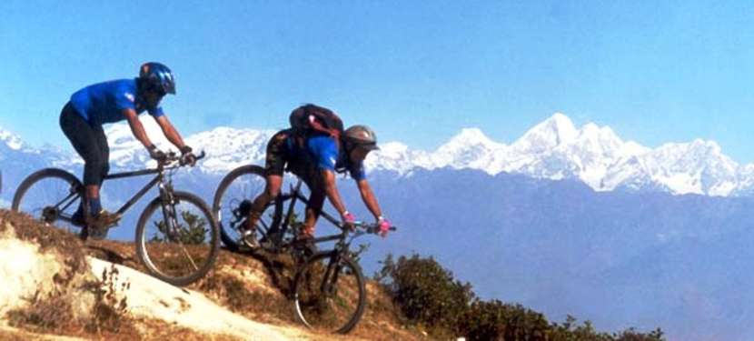 Biking trail with Ganesh Himal in the backdrop